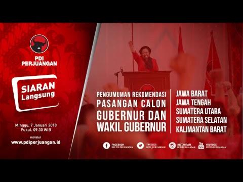 Pengumuman Pasangan Calon Gubernur & Wakil Gubernur PDI Perjuangan Live Stream