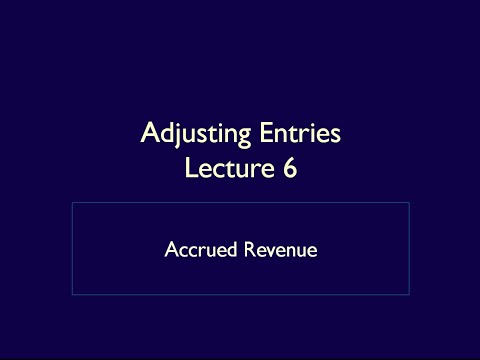 Adjusting Entries - Lecture 6 - Accrued Revenue