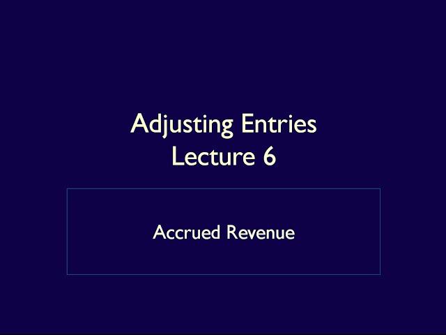 Module 4, Adjusting Entries, Video 4, Accrued Revenue