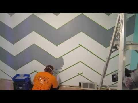 How to paint a zig zag wall chevron pattern yourepeat for Zig zag bedroom ideas