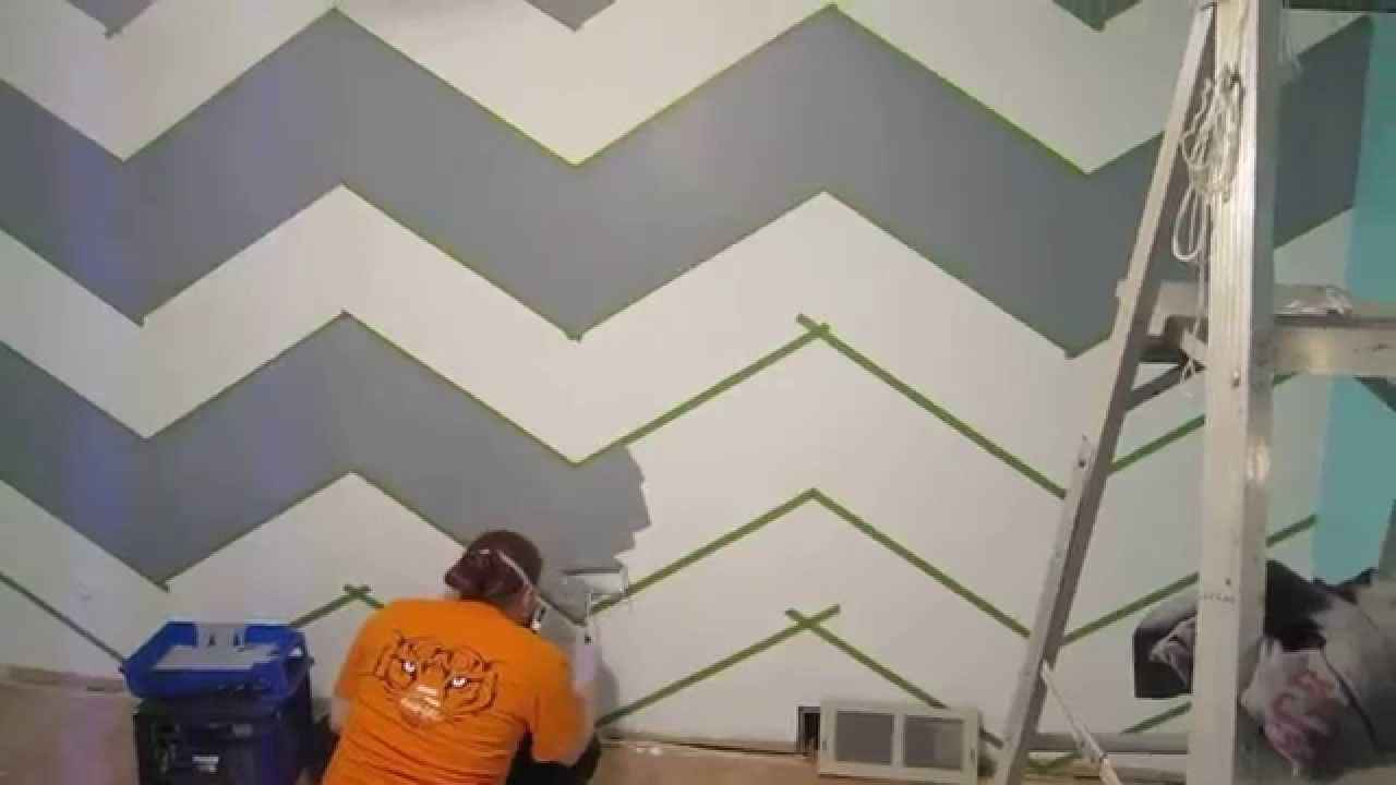 How to Paint a Zig-Zag Wall - Chevron Pattern - YouTube