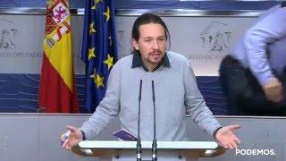 Rueda de prensa de Pablo Iglesias tras su encuentro con Pedro Sánchez