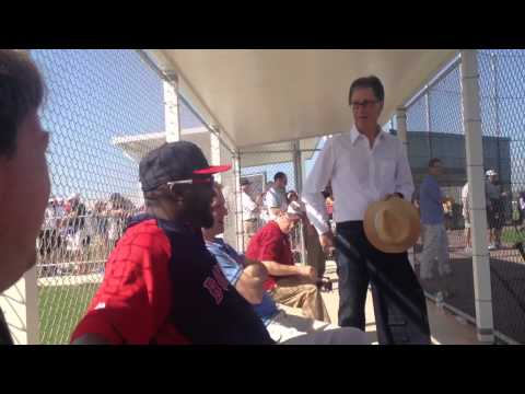 Red Sox owner John Henry chats it up with David Ortiz