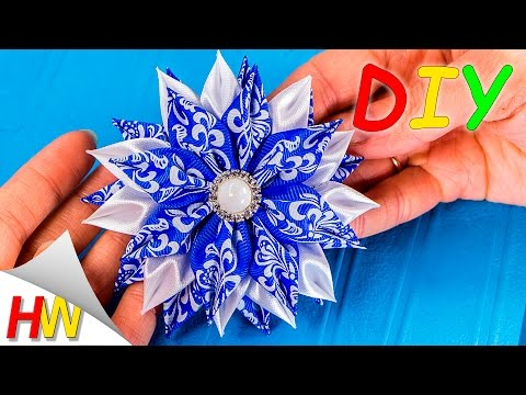 Мастер-класс Канзаши.Цветы из лент.Заколка для волос.Цветок Канзаши/Flower of satin ribbons.