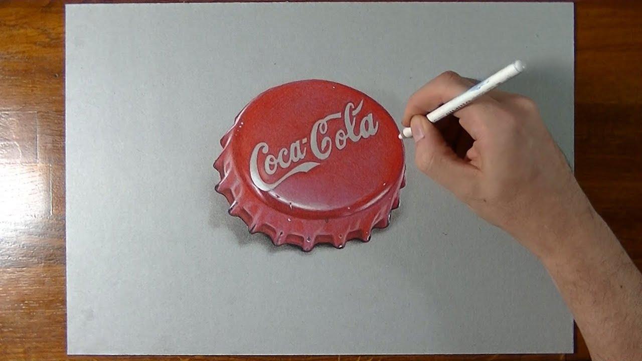 Disegno realistico effetto 3d in time lapse tappo for Disegno 3d free