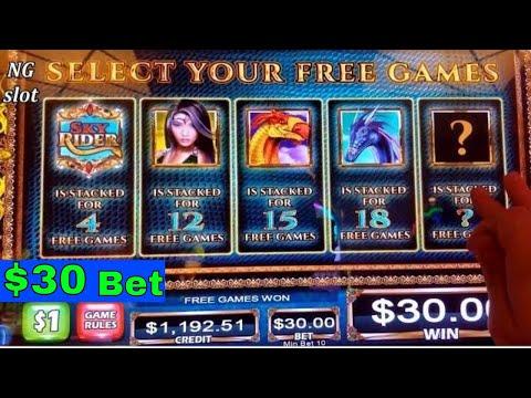 High Limit SKY RIDER Slot Machine $30 Bet Bonus and  Montezuma Slot $20 Bet Bonus! High Limit Slot😡