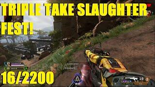 Apex Legends - TRIPLE TAKE SLAUGHTERFEST! | 16 KILLS & 2,200 DAMAGE! (WRAITH)