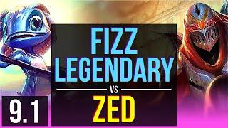 FIZZ vs ZED (MID) | 3 early solo kills, Legendary, KDA 13/3/5 | NA Grandmaster | v9.1