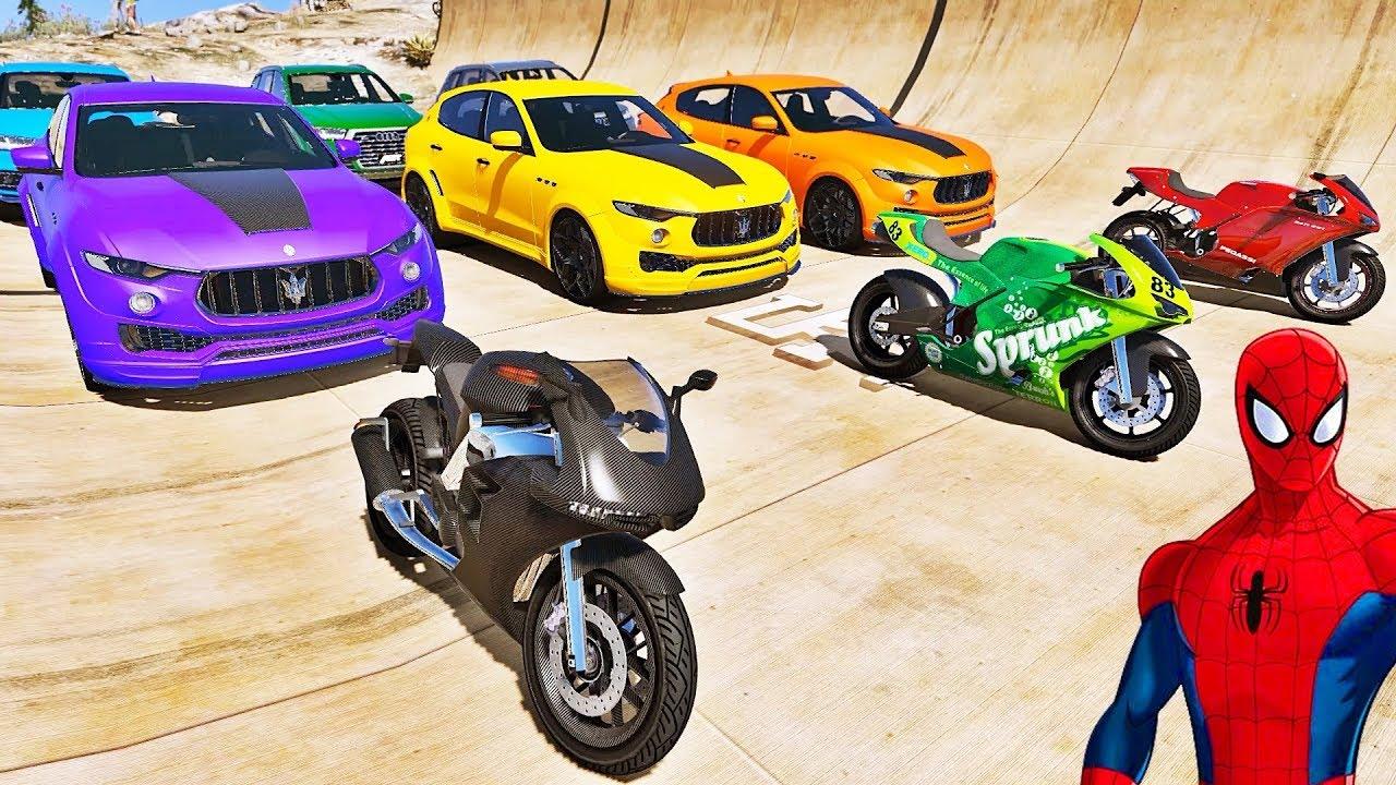 Download CARROS e MOTOS com HOMEM ARANHA e SUPER HERÓIS! Desafio de Super Carros e MOTOS na Rampa - IR GAMES