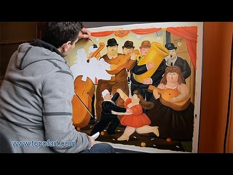 Art Reproduction (Botero - Ball in Colombia) Hand-Painted Step by Step