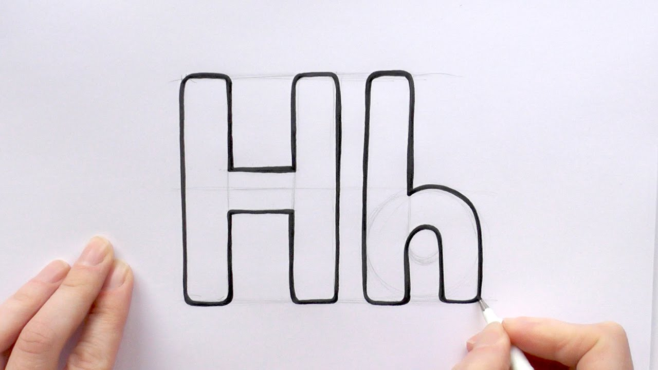 how to draw a cartoon letter h and h youtube