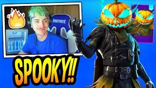 "NINJA & STREAMERS REACT TO *NEW* ""PUMPKIN HEAD"" SKIN! *EPIC* Fortnite FUNNY Moments"