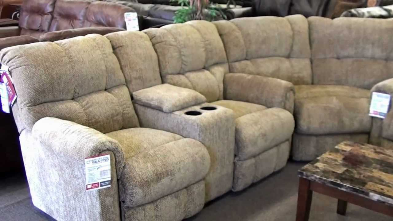 Lane recliner sectional 4 recliners with cupholders youtube