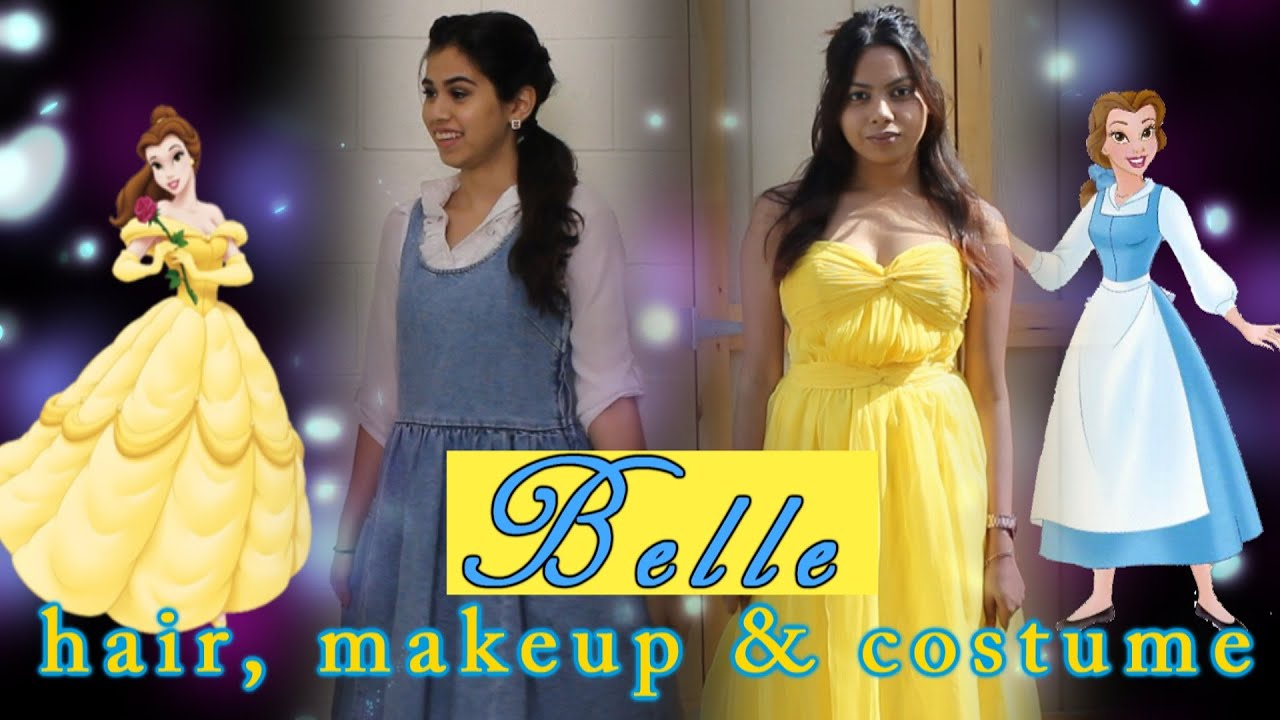 princess belle tutorial makeup hair outfit halloween 2015 2 looks youtube