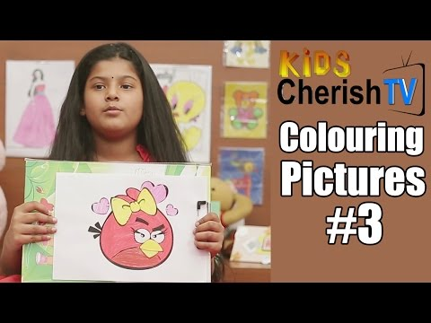 How To Colour a Paper Angry Bird    Diy   Colouring Pictures #3    Kids Cherish Tv