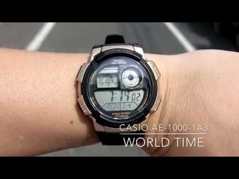 CASIO JAPAN AE-1000W-1A3 World Time/10year battery/100M Water resistance