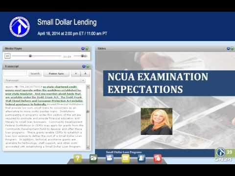 NCUA Webinar:  Small Dollar Lending (4/16/2014)