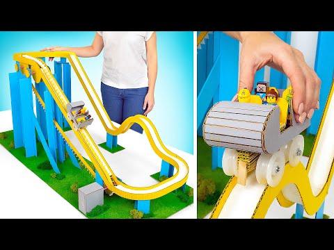 Как построить крутую картонную горку для машинок