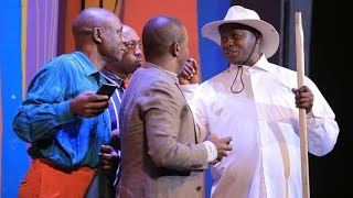 Teacher Mpamire Acting Ugandan President Museveni.(Uganda Airlines)