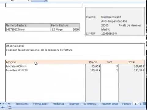facturas con archivo plantilla excel descarga gratis - YouTube - formatos de excel gratis
