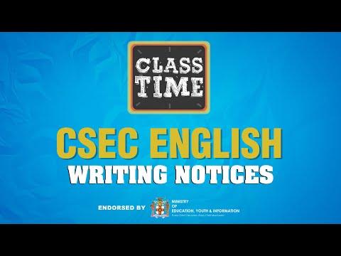 CSEC English - Writing Notices - May 13 2021