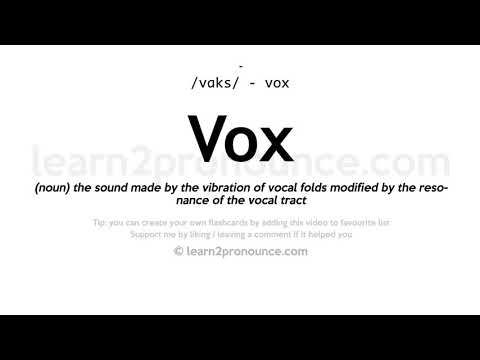 Vox Pronunciation And Definition Youtube