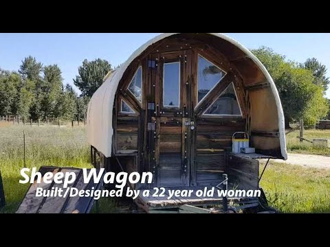 womans self builtdesigned sheep wagon home tiny house - Sheep Wagon