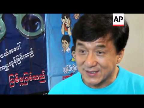 Martial arts film star Jackie Chan visits Myanmar to highlight issue of child trafficking