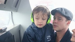 Brad Pitt and Look-Alike Son Knox Bond at the British Grand Prix