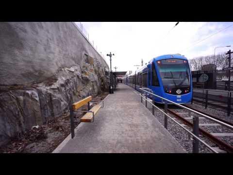 Sweden, Stockholm, tram ride from Solna Station past Solna Centrum