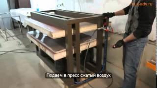Пресс мебельный  П13 10, наклеивание пластика HPL на ДСП и MDF(Технология наклейки пластика HPL и шпона в прессе. Как качественно фанеровать панели для кухонь?, 2015-02-09T06:34:01.000Z)