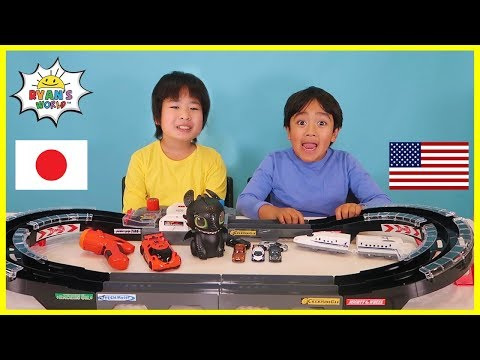 Ryan's World Collab With Gacchannel! Fun Toy Exchange Between US And Japan!