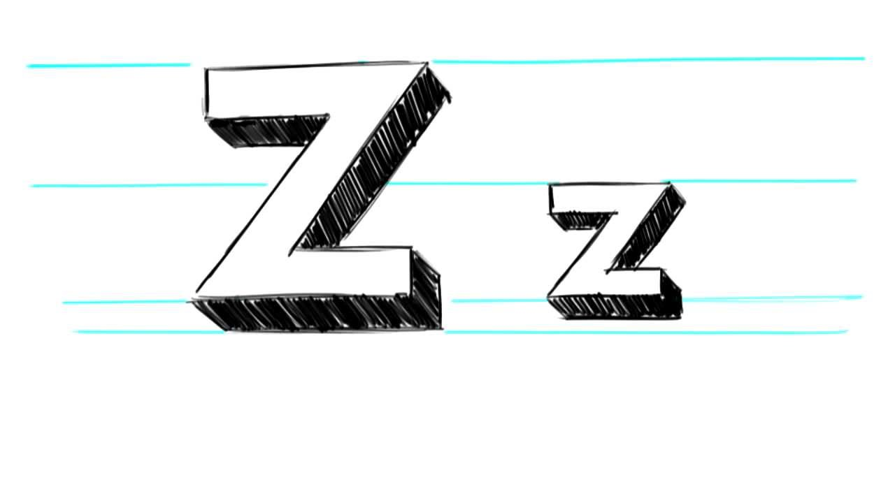 How To Draw 3d Letters Z Uppercase Z And Lowercase Z In 90 Seconds