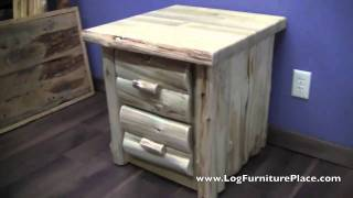 Cedar Lake Logger 2 Drawer Log Cabin Nightstand From Logfurnitureplace.com