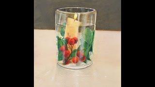 Cómo dibujar una decoración navideña con vaso y vela