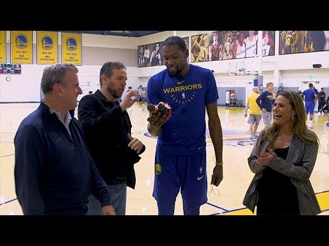 fde8927ba115 Kevin Durant accepts his Murph   Mackie Player of the Year Award ...