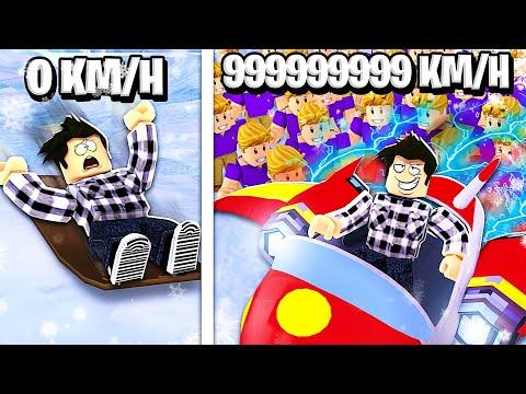 DESCENTE EN LUGE A PLUS DE 999,999,999 KM/H ! (Roblox Sled Simulator)