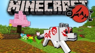 Minecraft 1.7 Snapshot: Okami Flower Blooming Trick of the Wolf Goddess! Command Minecart 13w39b