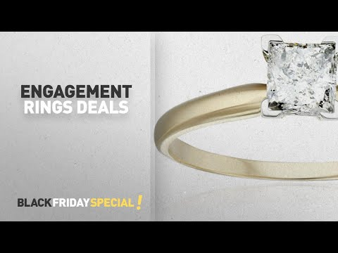 Engagement Rings Black Friday Featuring: 14k Yellow Gold Princess Solitaire Diamond Ring (3/4 carat,