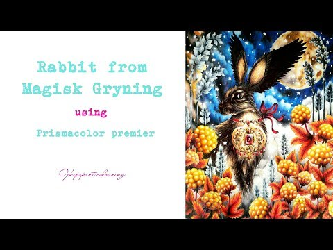 Rabbit among cloudberries from Magisk Gryning coloring book