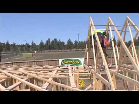Safe erection of roof trusses youtube for Roof trusses installation