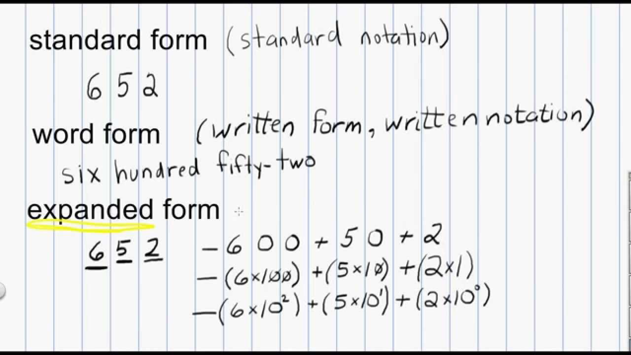 hight resolution of Math Numeration: Standard form