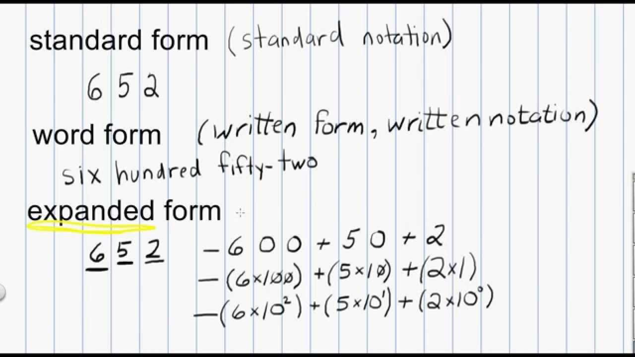 hight resolution of Math Numeration: Standard form