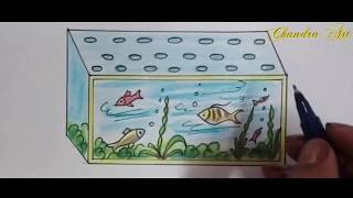aquarium drawing -  how to draw aquarium for kids step by step