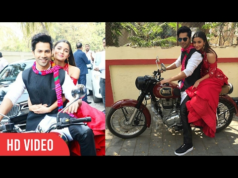 Varun Dhawan and Alia Bhatt Grand Entry On Bike | Badrinath Ki Dulhania - Official Trailer Launch