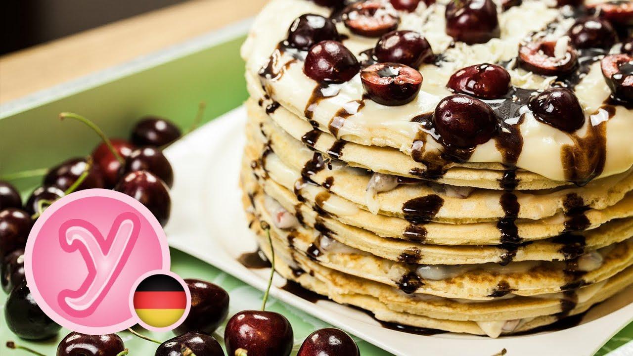 Pancake Kuchen Mit Kirschen Und Weisser Schokolade Super Einfach