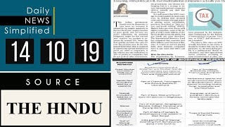 Daily News Simplified 14-10-19 (The Hindu Newspaper - Current Affairs - Analysis for UPSC/IAS Exam)