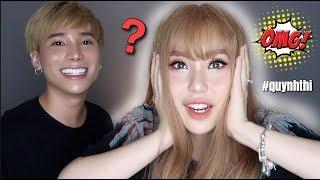 Makeup cho Quỳnh Thi thành BÚP BÊ LAI tóc vàng + mái ngố