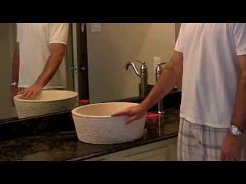Natural stone vessel bathroom sinks