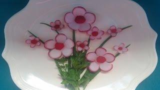 Цветы из редиса. Как красиво нарезать редис для украшения блюд